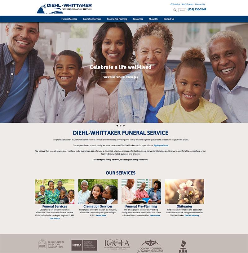 Diehl-Whittaker Funeral Services concept website
